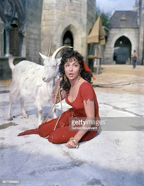 Italian actress Gina Lollobrigida is Esmeralda on the set of the 1956 version of The Hunchback of Notre Dame directed by French Jean Delannoy
