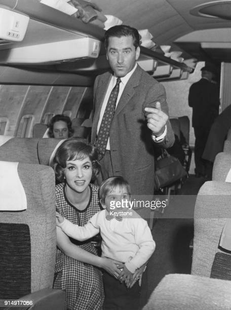 Italian actress Gina Lollobrigida leaves Rome for Los Angeles by air with her husband Milko Skofic and their son Milko Jr 22nd April 1960