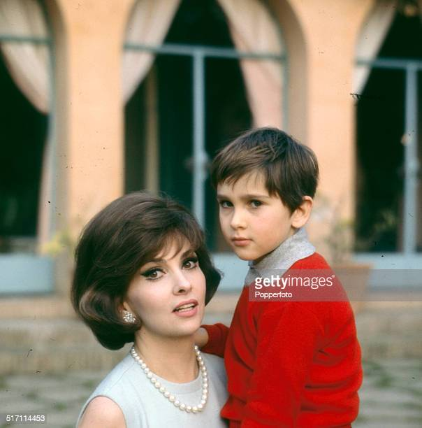 Italian actress Gina Lollobrigida posed with her son Andrea Milko Skofic in 1965