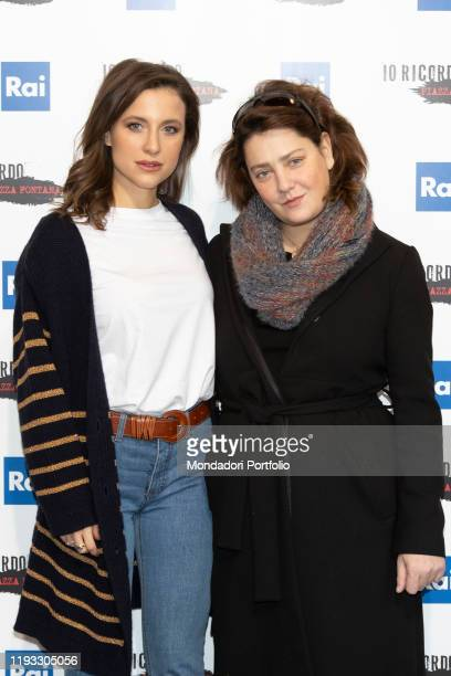 Italian actress Giovanna Mezzogiorno and Nicole Fornaro during the photocall of presentation of the film Io ricordo Piazza Fontana broadcast on...