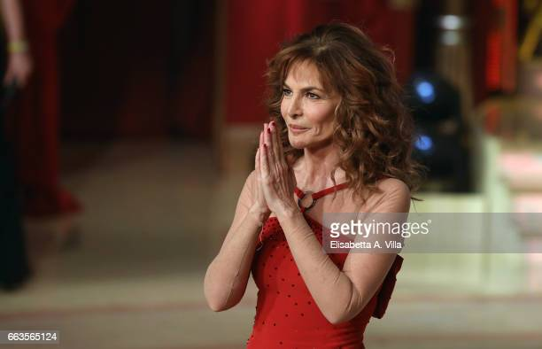 Italian actress Giuliana De Sio performs on the Italian TV show 'Ballando Con Le Stelle' at Auditorium Rai on April 1, 2017 in Rome, Italy.