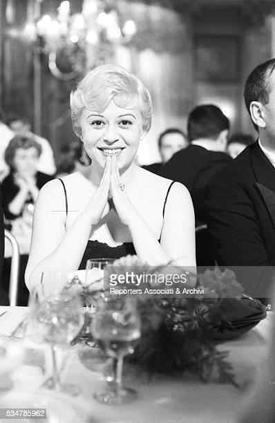 Italian actress Giulietta Masina attending the Nastri d'Argento awarding ceremony for the film Nights of Cabiria 8th February 1958