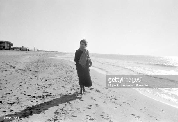 Italian actress Giulietta Masina on Fregene beach Fregene 1950s