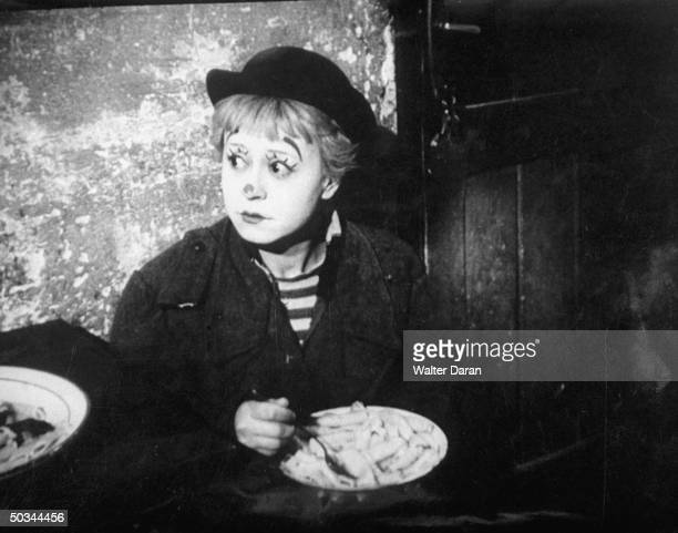 Italian actress Giulietta Masina performing in the motion picture La Strada