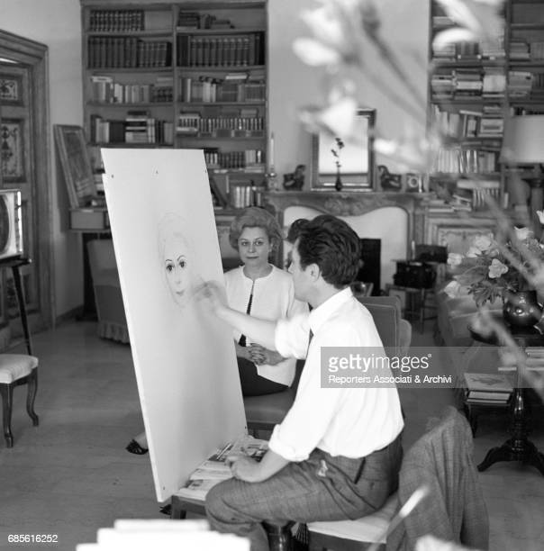 Italian actress Giulietta Masina posing in the studio of Soviet painter Il'ja Sergeevic Glazunov for a portrait 7th May 1963