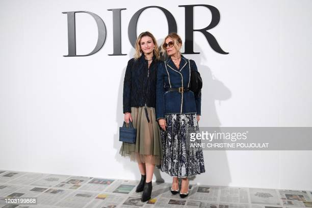 Italian actress Isabella Ferrari and her daughter Nina De Maria pose during the photocall prior to the Dior Women's FallWinter 20202021 ReadytoWear...
