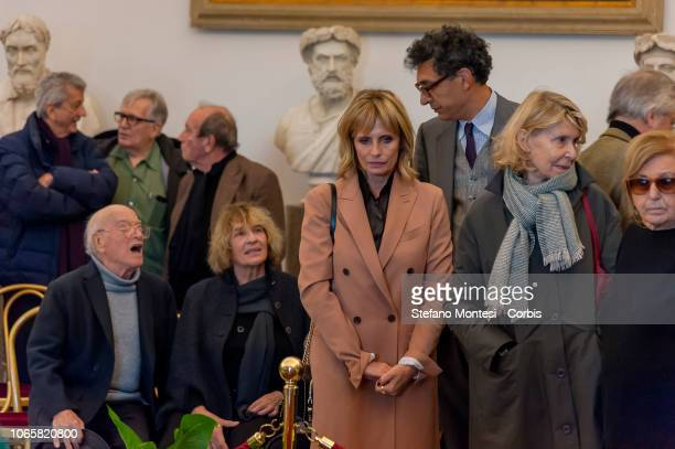 Italian actress Isabella Ferrari pay their respects at the burial chamber of the Oscarwinning director Bernardo Bertolucci lying in state in an open...