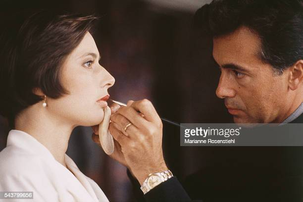 Italian actress Isabella Rossellini ambassador for Lancome being madeup by Lancome's Thibault Fabre for the presentation of the new Lancome perfume