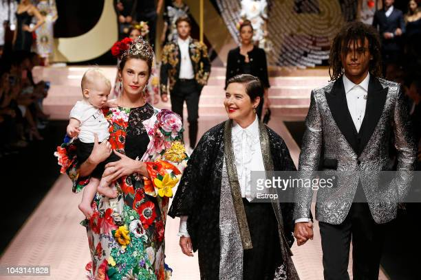 Italian actress Isabella Rossellini and her daughter Elettra Rossellini Wiedemann at the Dolce Gabbana show during Milan Fashion Week Spring/Summer...