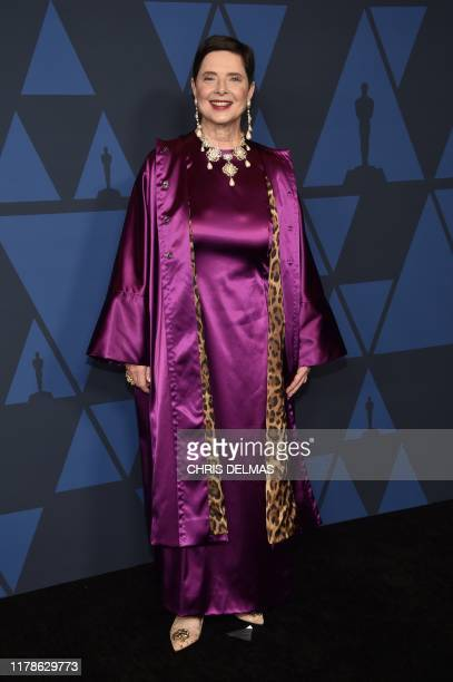 Italian actress Isabella Rossellini arrives to attend the 11th Annual Governors Awards gala hosted by the Academy of Motion Picture Arts and Sciences...