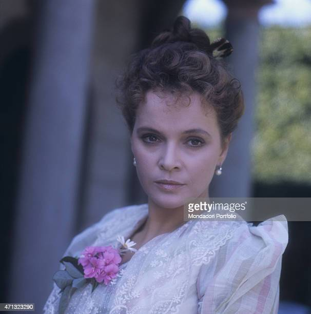 Italian actress Laura Antonelli posing in a stage costume in a villa nearby Lucca on the set of the film The Innocent Italy 1976