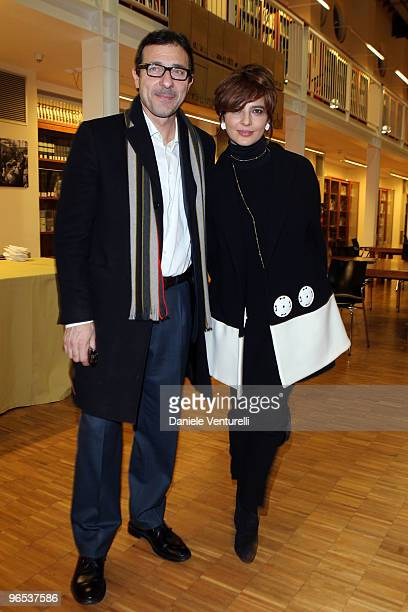 Italian actress Laura Morante and Francesco Giammatteo attend the premiere's coccktail party for the film 'Il Figlio Piu Piccolo' at library Renzo...
