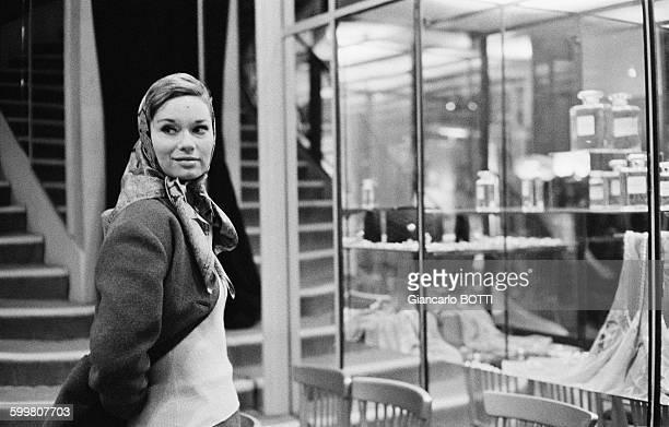 Italian actress Lea Massari at Chanel boutique in Paris France in 1972