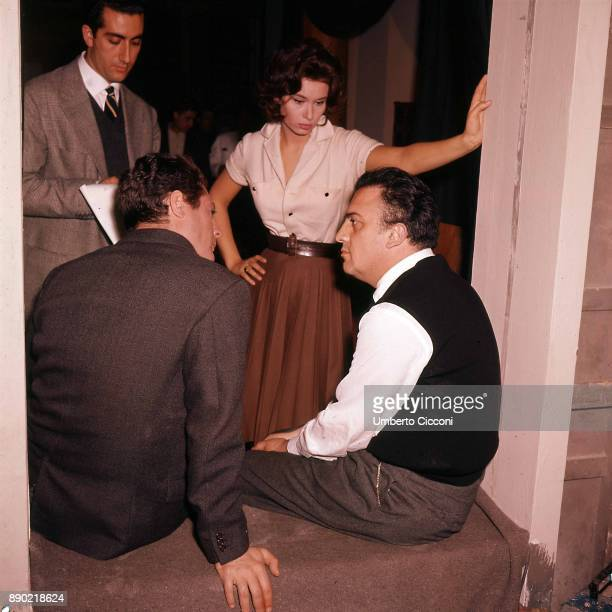 Italian actress Lea Massari during the audition for the movie 'La Dolce Vita' with actor Marcello Mastroianni and film director Federico Fellini Rome...