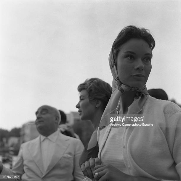 Italian actress Lea Massari with Angelo Rizzoli during the Movie Festival Lido Venice 1957