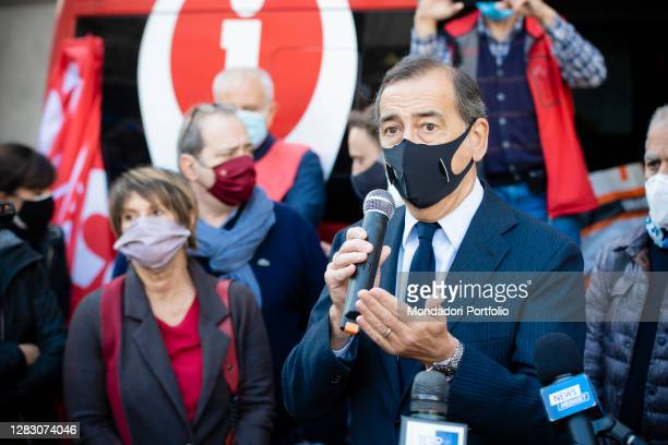 Italian actress Lella Costa and Mayor of Milan Beppe Sala uring the rally organized by the entertainment workers in Piazza della Scala to give life...