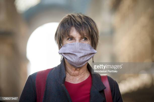 Italian actress Lella Costa during the rally organized by the entertainment workers in Piazza della Scala to give life to the movement L'assenza...