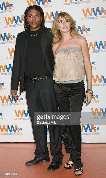 Italian actress Loredana Cannata and a guest attend the 2008 Wind Music Awards at Villa Giulia on June 3 2008 in Rome Italy