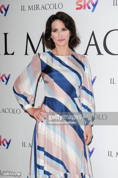 Italian actress Lorenza Indovina attends at the photocall of sky tv series Il Miracolo by Niccolò Ammaniti at The Space Cinema Moderno Rome May 3rd...