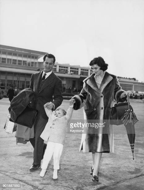 Italian actress Lucia Bosè visits Rome Italy with her husband bullfighter Luis Miguel Dominguin and their son Miguel March 1958 Miguel grew up to be...