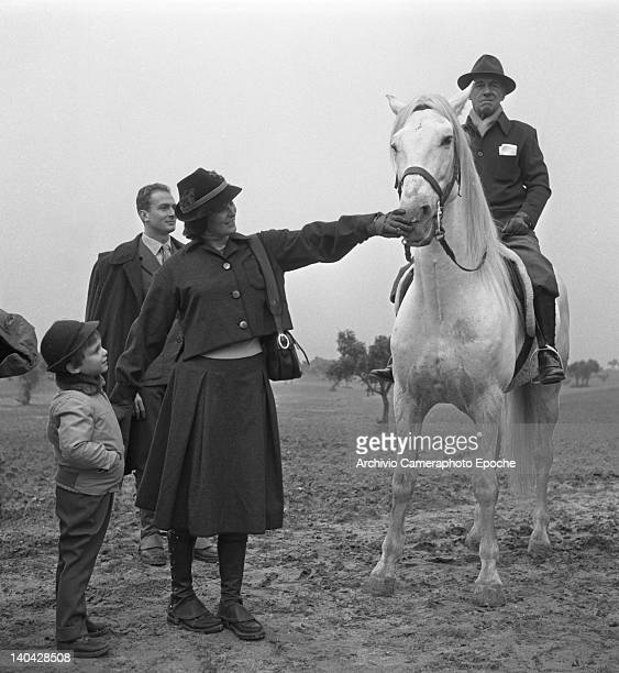 Italian actress Lucia Bose caressing a horse and holding the hand of Miguel Bose, Madrid, 1961.