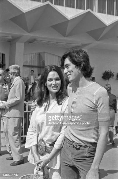 Italian actress Lucia Bose with Peter Gonzales outside the Movie Festival, Lido, Venice, 1972.