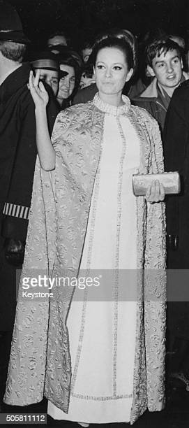 Italian actress Luciana Paluzzi waving as she arrives at the premiere of the James Bond film 'Thunderball' at the London Pavilion December 30th 1965