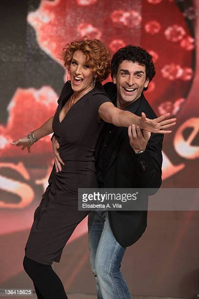 Italian actress Lucrezia Lante Della Rovere and her dance partner Simone Di Pasquale attend Ballando Con Le Stelle press conference photocall at...