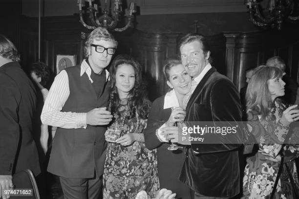 Italian actress Luisa Mattioli and English actor producer and author Michael Caine at their joint birthday party with their partners English actor...