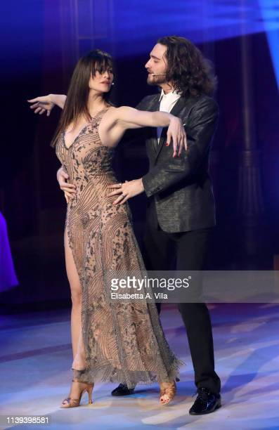 Italian actress Manuela Arcuri and her dance partner Luca Favilla perform on the tv show Ballando Con Le Stelle at RAI Auditorium on March 30 2019 in...