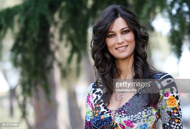 Italian actress Manuela Arcuri attends a photo call promoting Italian TV Film 'Mogli A Pezzi held at Casa del Cinema on May 7 2008 in Rome Italy