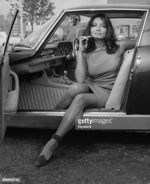 Italian actress Maria Grazia Buccella gets into an Iso Grifo Italian sports car at London Airport, en route to the Dorchester Hotel, 25th September...