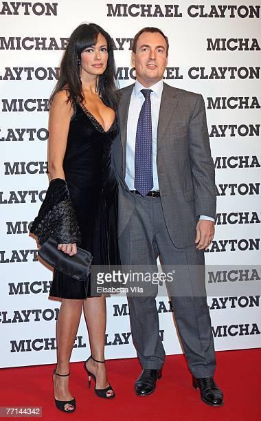 Italian actress Maria Grazia Cucinotta and her husband Giulio Violati attend the 'Michael Clayton' premiere at Cinema Embassy on October 01, 2007 in...
