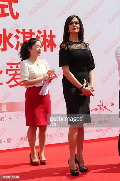 Italian actress Maria Grazia Cucinotta attends commercial activity of ice cream brand 'Iceason' on April 12 2015 in Shanghai China