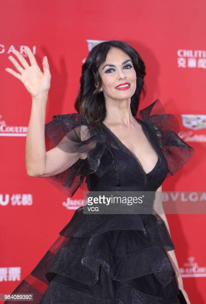 Italian actress Maria Grazia Cucinotta poses on the red carpet of the Golden Goblet Awards Ceremony during the 21st Shanghai International Film...