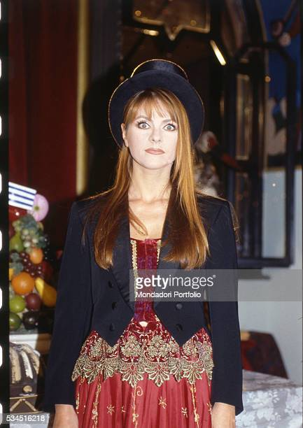 Italian actress Marina Massironi as Natalia a comedy character featured in TV show Mai dire Goal Milan 1996