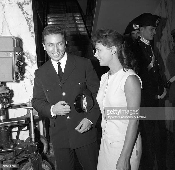 Italian actress Marisa Allasio and Americanborn Italian TV host Mike Bongiorno smiling at Miss Roma election Rome 1954