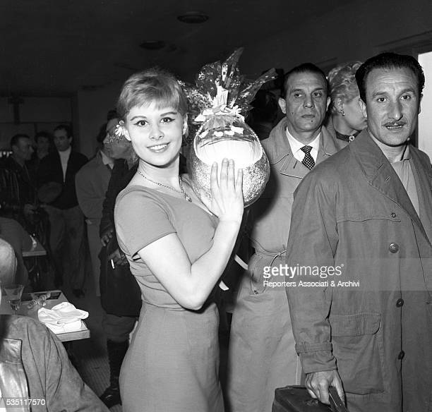 Italian actress Marisa Allasio holding an Easter egg at the 4th Cinema Rally Sanremo April 1957
