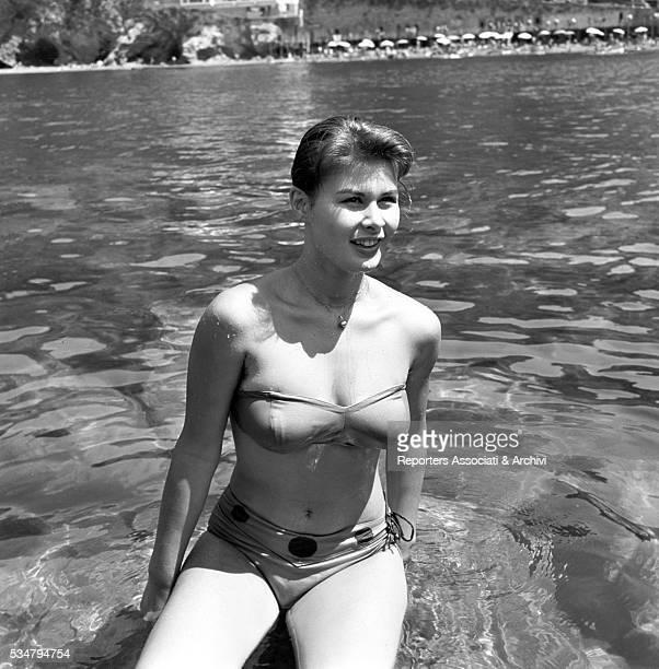 Italian actress Marisa Allasio in bikini at the beach 1956