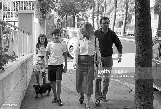 Italian actress Marisa Allasio walking with her husband Pier Francesco Calvi di Bergolo and their children Carlo Giorgio and Anda Federica Rome 30th...