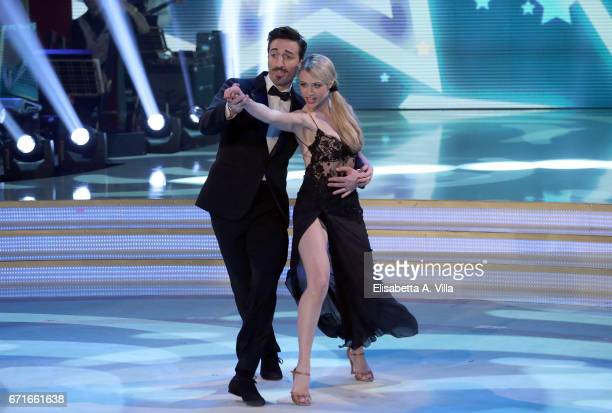 Italian actress Martina Stella and her dance partner Samuel Peron perform on the Italian TV show 'Ballando Con Le Stelle' at Auditorium Rai on April...