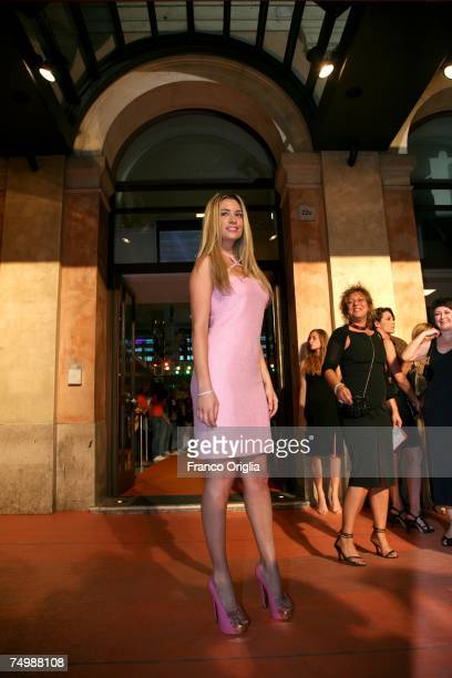 Italian actress Martina Stella arrives at the Cinema Adriano during the opening day of the RomaFictionFest July 2 2007 in Rome Italy