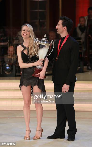 Italian actress Martina Stella winner of the 3rd place and her dance partner Samuel Peron attend the Italian TV show 'Ballando Con Le Stelle' at...
