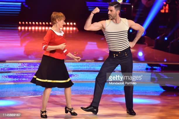Italian actress Milena Vukotic with her dance master Simone Di Pasquale during the fourth episode of the show Ballando Con Le Stelle auditorium Rai...