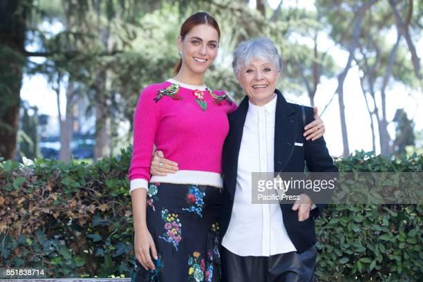 Italian actress Miriam Leone and Erminia Ferrari wife of Nino Manfredi during Photocall of the new Italian fiction In Arte Nino based on the life of...