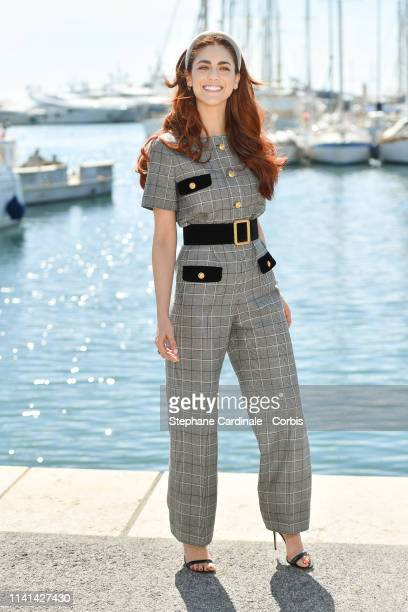 Italian actress Miriam Leone, jury member of the Cannes Series poses during the 2nd Canneseries - International Series Festival : Day Five on April...