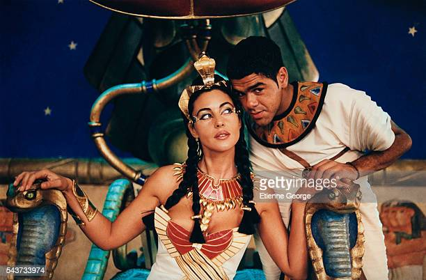 Italian actress Monica Bellucci and French actor and humorist Jamel Debbouze on the set of Asterix and Obelix Meet Cleopatra written by Rene Gosciny...