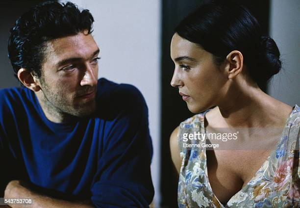 Italian actress Monica Bellucci and French actor Vincent Cassel on the set of the film 'Méditerranées' directed by French director Philippe Bérenger