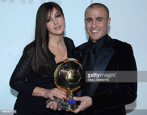 Italian actress Monica Bellucci and Italian soccer player of Real...