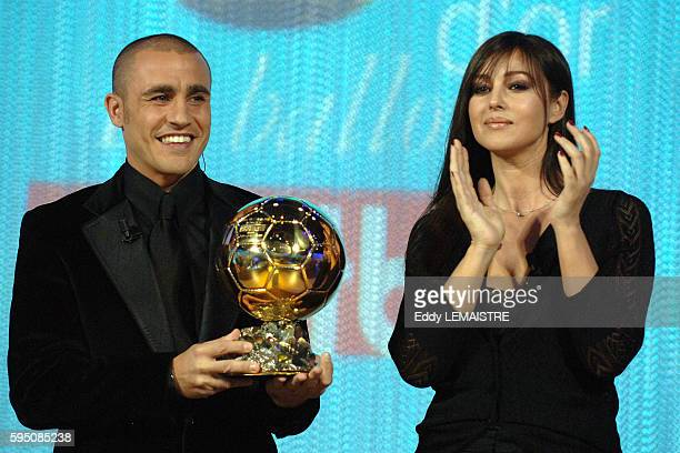 Italian actress Monica Bellucci and Italian soccer player of Real Madrid and captain of the Italian team that won the FIFA World Cup 2006 Fabio...